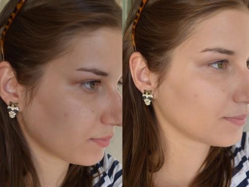 Cara limpa/pele com uma camada leve de base Intense